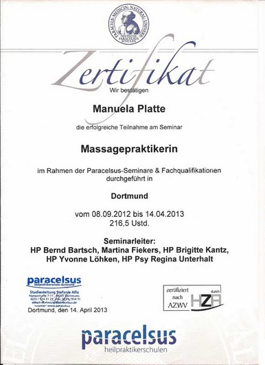 Zertifikat Massagepraktikerin